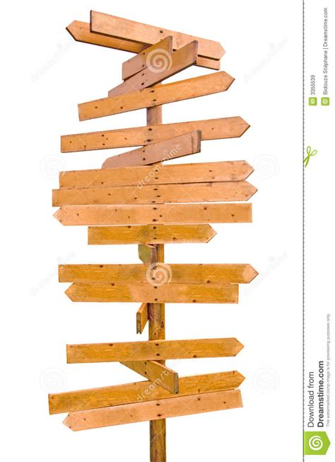 Wooden blank sign post stock image