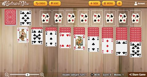 Solitaire Bliss - Double Klondike Solitaire Turn One
