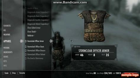 The Stormcloak officer armor - YouTube